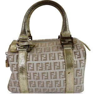 FENDI Selleria Zucca Canvas Leather Boston Bag